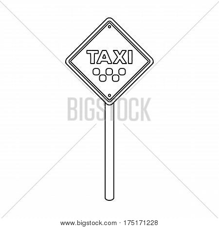 Taxi stop road sign. Parking zone for yellow taxi. Taxi station single icon in outline style vector symbol stock web illustration.