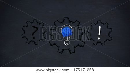 Digitally generated images of gears with light bulb and punctuation marks on black background