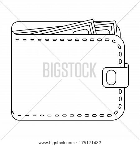 Black leather purse with money dollar. Taxi payment means. Taxi station single icon in outline style vector symbol stock web illustration.