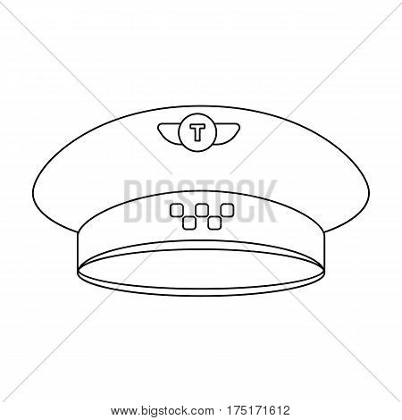 Black cap with the logo of a taxi. Uniforms taxi driver. Taxi station single icon in outline style vector symbol stock web illustration.