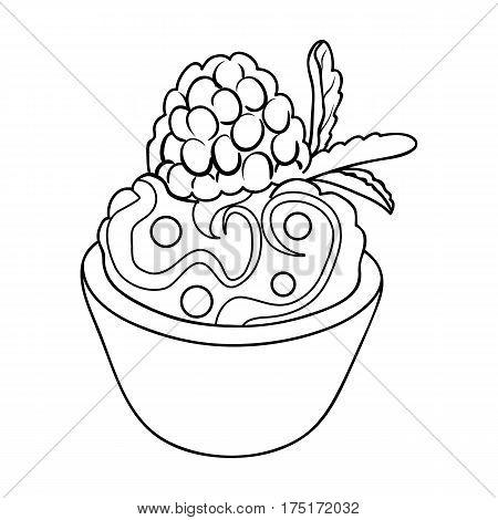 Vegetarian dessert. For vegetarians ice cream in a chocolate Cup and raspberry.Vegetarian Dishes single icon in outline style vector symbol stock web illustration