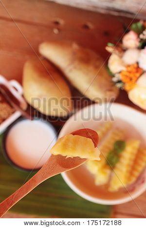 Sweet potato with coconut milk Thai dessert