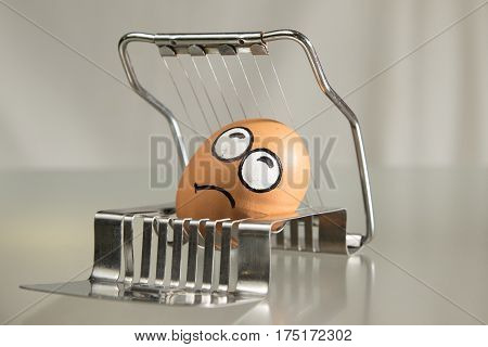 Frightened egg face on the cutter in white background