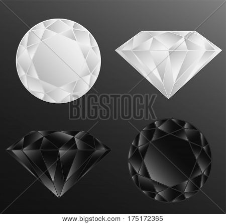 Black and White Diamonds on black background