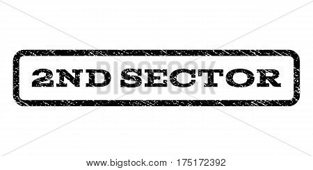 2nd Sector watermark stamp. Text caption inside rounded rectangle frame with grunge design style. Rubber seal stamp with dust texture. Vector black ink imprint on a white background.