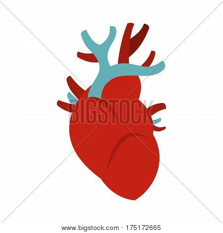 Heart icon in flat style isolated on white background vector illustration