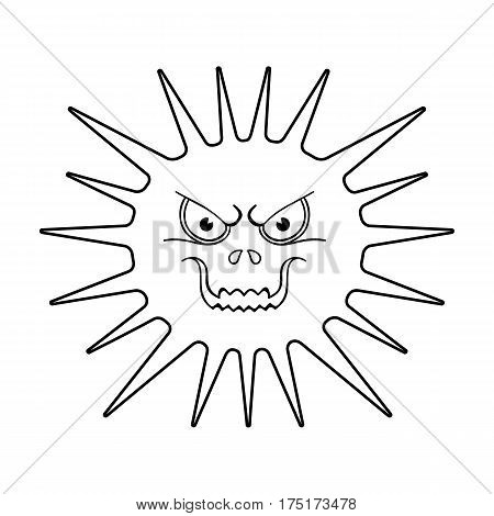 Gray virus icon in outline design isolated on white background. Viruses and bacteries symbol stock vector illustration.