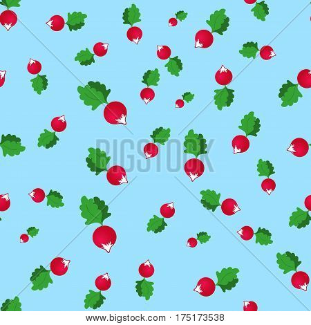 seamless pattern with radish on a blue background