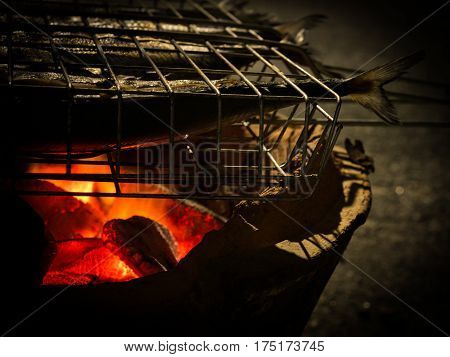 Closeup Burning fire flame and fire burner grill fish over camp.