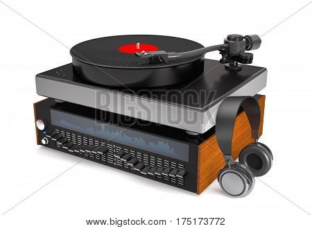 Sound equalizer turntable vinyl record and headphones on white background (3d illustration).