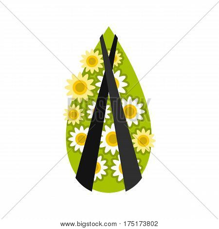 Memorial wreath icon in flat style isolated on white background vector illustration