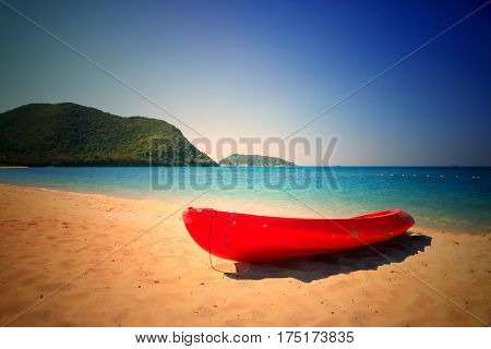 Canoe boat on the beach.Canoe on beautiful beach in the samae san island -Thailand