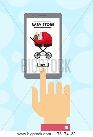 Baby store website in smartphone screen used by human hand vector illustration. Online shopping in shop for newborn poster. Ecommerce concept, buying baby carriage in internet, mobile marketing