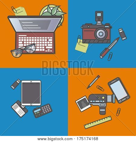 Mass media and press banner set vector illustration. Professional journalist workplace, news reporter, online blogging, newsletter. Laptop, camera, smartphone, tablet, voice recorder, notebook.