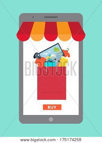 Online shopping in mall concept vector illustration. Ecommerce banner with shopping bag in tablet computer screen. Buy in internet clothes, electronic technics and other at home, online retailer