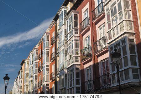 Burgos (Castilla y Leon Spain): exterior of historic buildings with typical verandas