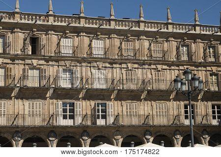 Salamanca (Castilla y Leon Spain): the historic Plaza Mayor the main square of the city