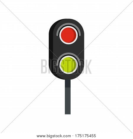 Semaphore trafficlight icon in flat style isolated on white background vector illustration