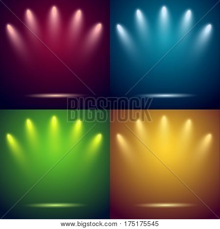 Spotlights & empty stages. Four backgrounds. Vector illustration