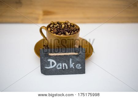 Coffee cup with thank you  gold coffe cup