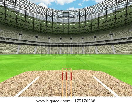 3D Render Of A Round Cricket Stadium With Grey Green  Seats And Vip Boxes