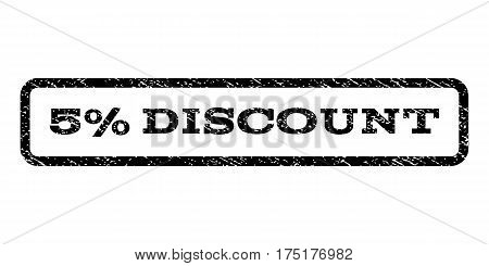5 Percent Discount watermark stamp. Text tag inside rounded rectangle frame with grunge design style. Rubber seal stamp with unclean texture. Vector black ink imprint on a white background.
