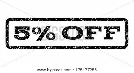 5 Percent Off watermark stamp. Text tag inside rounded rectangle frame with grunge design style. Rubber seal stamp with unclean texture. Vector black ink imprint on a white background.