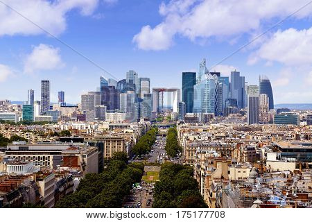 Paris skyline aerial Champs Elysees  in France
