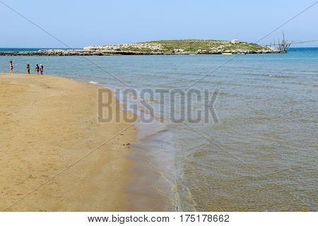 Beach And Island On The Coast Of Torre Canne