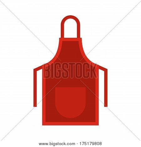 Red apron icon in flat style isolated on white background vector illustration