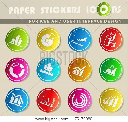 Diagram and infographic vector color icon set