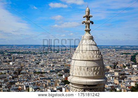 Paris skyline and Sacre Coeur Basilique in Montmartre at France