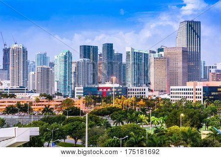 Miami, Florida, USA downtown city skyline.