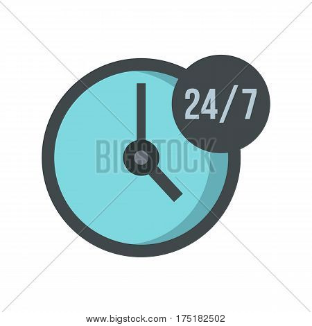 Open or served around the clock, 24 hours a day and 7 days a week icon in flat style isolated on white background vector illustration