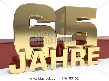 Golden digit sixty five and the word of the year. Translated from the German - years.3D illustration