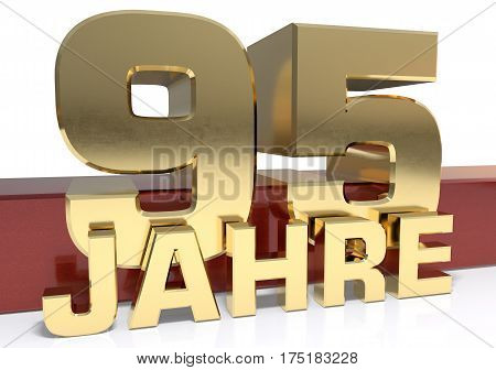 Golden digit ninety five and the word of the year. Translated from the German - years.3D illustration