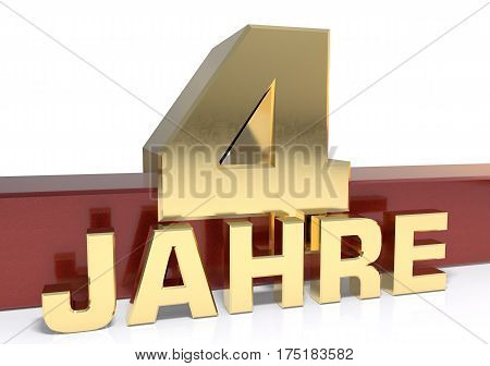 Golden digit four and the word of the year. Translated from the German - years.3D illustration