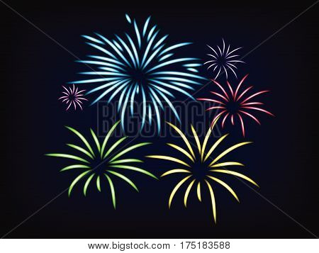 vector of colorful fireworks on black and blue night sky mesh background