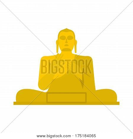 Golden Buddha at the Golden Temple of Dambulla, Sri Lanka icon in flat style isolated on white background vector illustration