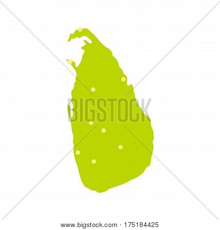 Sri Lanka green map icon in flat style isolated on white background vector illustration