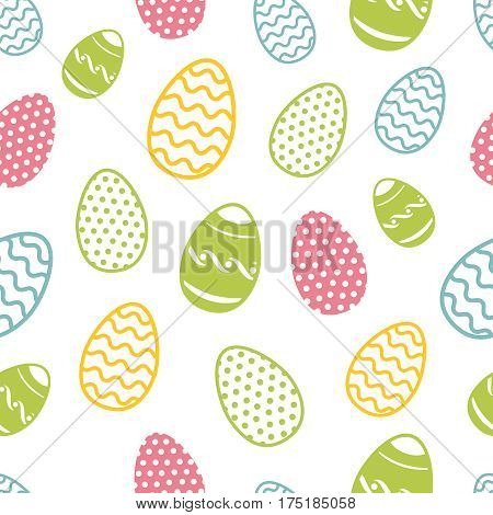 Easter egg seamless pattern. Cupcakes ostern background with eggs and flowers. Pattern with colored easter eggs to holiday illustration
