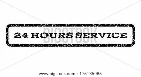 24 Hours Service watermark stamp. Text tag inside rounded rectangle frame with grunge design style. Rubber seal stamp with dirty texture. Vector black ink imprint on a white background.