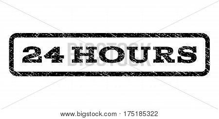 24 Hours watermark stamp. Text tag inside rounded rectangle with grunge design style. Rubber seal stamp with unclean texture. Vector black ink imprint on a white background.