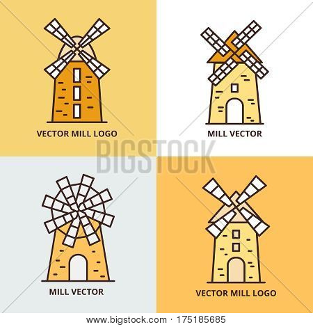 Retro windmill logo set. Wheat bread mill vector icons. Retro farm windmill of set illustration