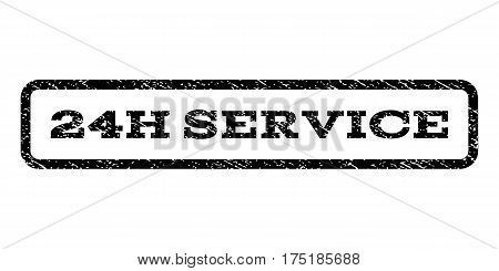 24H Service watermark stamp. Text caption inside rounded rectangle frame with grunge design style. Rubber seal stamp with dust texture. Vector black ink imprint on a white background.