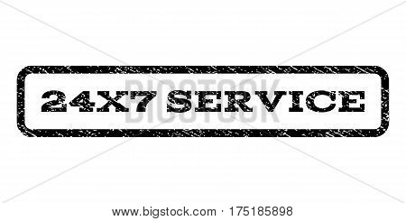 24X7 Service watermark stamp. Text tag inside rounded rectangle with grunge design style. Rubber seal stamp with scratched texture. Vector black ink imprint on a white background.