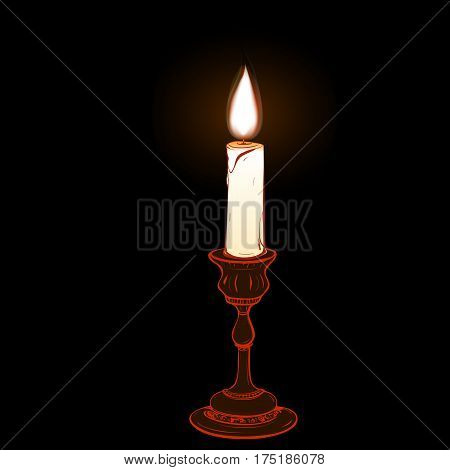 Colored  illustration of stylized retro candlestick with a burning candle on a black background
