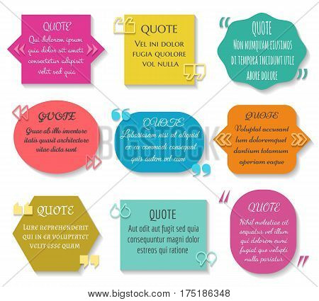 Text quotes box set. Vector texting quote sentence colored elements. Message comment description in textbox illustration