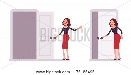 Set of young smiling secretary in a elegant formal wear standing and opening, closing the door, administrative assistant welcoming clients, inviting to enter the office, full length, white background