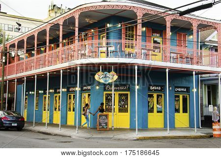 New Orleans, USA - July 8, 2015: Dat Dog restaurant on Frenchmen Street in French Quarter that serves hot dogs.